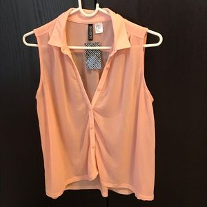 H&M Divided - Sheer Sleeveless Button Down Top